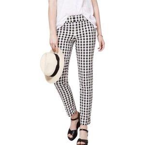 LOFT Black White Gingham Julie Straight Pants 6